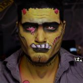White Contacts on Frankenstein Costume
